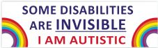 Some Disabilities Are Invisible I Am Autistic  Car Van Sticker Waterproof Decal  Rainbow